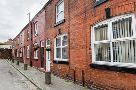 Liverpool, United Kingdom: August 02, 2018: Childhood home of Geroge Harrison in Arnold Crove street in Liverpool, Uk Editorial