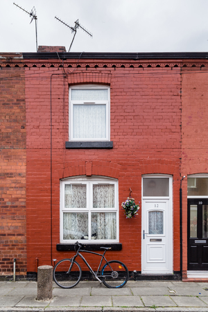 Liverpool, United Kingdom: August 02, 2018: Childhood home of Geroge Harrison in Arnold Crove street in Liverpool, Uk Redakční