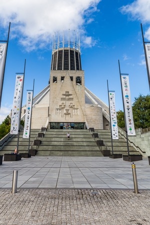 Liverpool, United Kingdom: August 02, 2018 Streetview of the Metropolitan Cathedral in LIverpool, UK Editorial