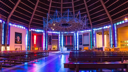 Liverpool, United Kingdom: August 02, 2018 Interior of the Metropolitan Cathedral in LIverpool, UK