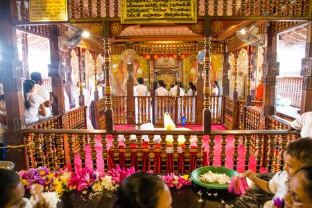 Kandy  Sri Lanka July 29 2017 -Interior of the famous Temple of the Tooth in Kandy, Sri Lanka Editorial