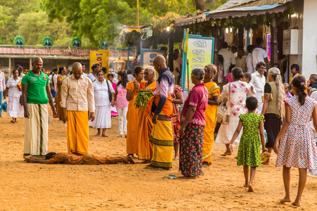 Bandarawela  Sri Lanka August 02 2017 -  Ritual rolling at Ruhunu Maha Kataragama Devalaya temple complex in  Sri Lanka. Redactioneel