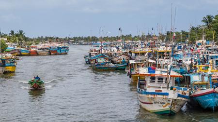 Negombo Sri Lanka July 24 2017 - Colorful fishing boats in the harbor of Negombo