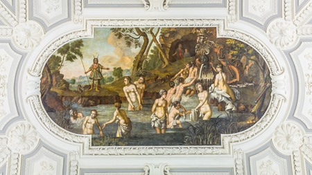 Tallinn, Estonia - September 30, 2018: Painting at the ceiling of the main hall of Kadriorg Palace in Roman Baroque style in Tallinn Estland.