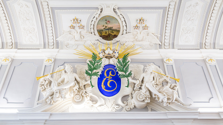 Tallinn, Estonia - September 30, 2018: Sculpture at the ceiling of the main hall of Kadriorg Palace in Roman Baroque style in Tallinn Estland.