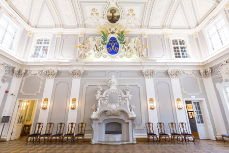 Tallinn, Estonia - September 30, 2018:  Main hall of Kadriorg Palace in Roman Baroque style in Tallinn Estland. Planned after the model of Versailles. Art meuseum of Estonia.