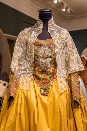 Tallinn, Estonia - September 30, 2018: Typical woman costumes of Estonian folklore in in Kadriorg Palace in Roman Baroque style in Tallinn Estland.