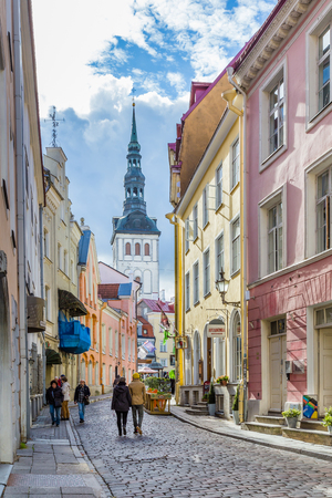 Tallinn, Estonia - September 29, 2018: Cityscape of Talinn, with a view Church of the Holy spirit in the old town of Tallinn in Estonia Redactioneel