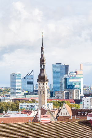 Tallinn, Estonia - September 29, 2018:: Cityscape of the old town of Talinn, with the  modern skyscrapers of the  hotels in the background