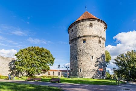 Tallinn, Estonia - September 29, 2018: Fat Margaret canon Tower guarding the north end of Pikk street, in the old town of Tallinn Estonia. Home of the Maritime mueseum.