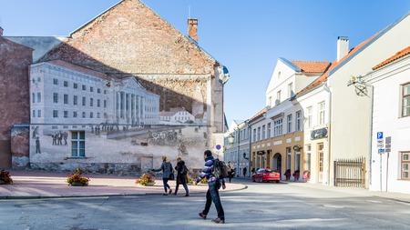 Tartu, Estonia - September 27, 2018: Historic image of the university building of Tartu Ulikool painted on a wall  in the streets of  historical  centre of  Tartu in Estonia Redactioneel