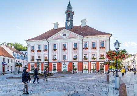 Tartu, Estonia - September 27, 2018: Town hall in the historical  centre of  Tartu in Estonia Redactioneel