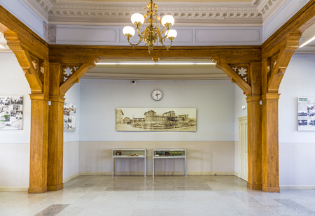 Tartu, Estonia - September 28, 2018: Old Wooden railway station in Tartu Estonia with a direct line to Tallinn and Russia