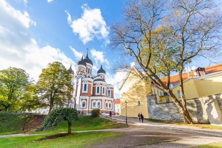 Tallinn, Estonia - September 29, 2018: Alexander Nevski cathedral  on top of Toompea hill tin the old town of Tallinn in Estonia