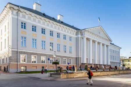 Tartu, Estonia - September 27, 2018: University building of Tartu Ulikool in historical  centre of  Tartu in Estonia. Largest and oldest university of Estonia. Redactioneel
