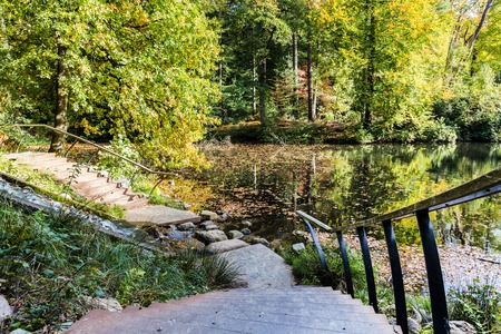 Lttle pool and waterfall n a Dutch forest during autumn in National Park Posbank and  Veluwe in Gelderland, Netherlands Stockfoto - 115482207