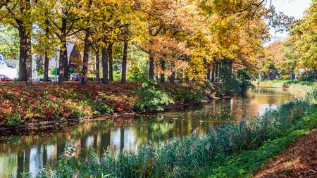 Autumn colors along the  Apeldoornse channel near Eerbeek in Gelderland, Netherlands Stockfoto - 115481823