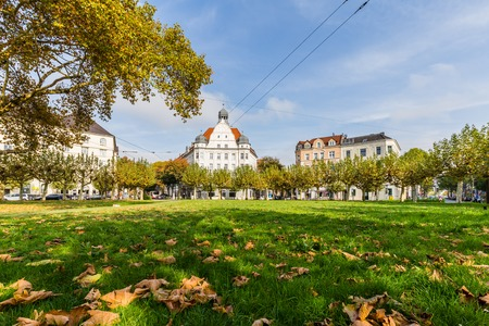 Dortmund, North Rhine Westphalia, Germany - October 19, 2018: Borsigplatz Innstadt-Nord in Dortmund Germany.  is famous for being the birthplace of football club Borussia Dortmund. Stockfoto - 111431791
