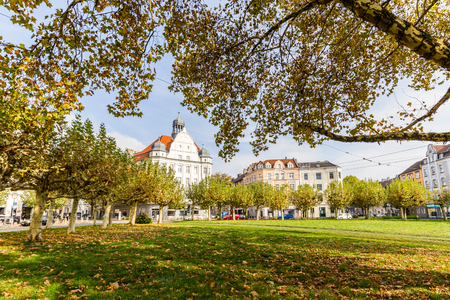 Dortmund, North Rhine Westphalia, Germany - October 19, 2018: Borsigplatz Innstadt-Nord in Dortmund Germany.  is famous for being the birthplace of football club Borussia Dortmund. Stockfoto - 111431802