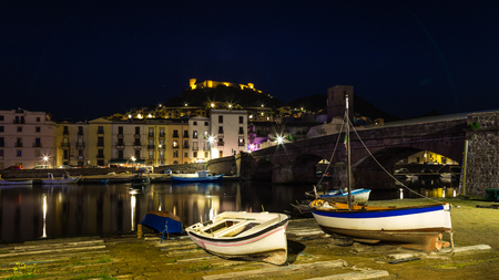 Picturesque little village  Bosa by night, a colorful small village  in Sardinia island, Italy Stockfoto