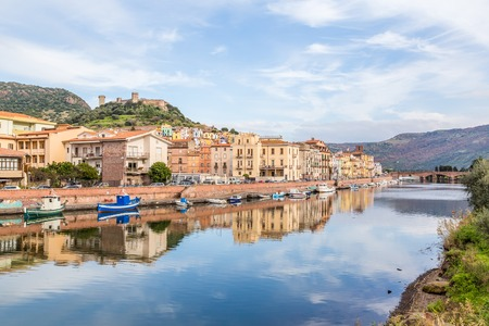 View from the bridge of Bosa, a coloful small village  in Sardinia, Italy