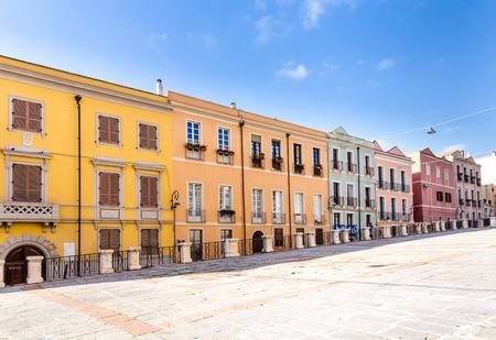 Piazza dell Indipendenza square in Cagliari old town Sardinia, Italy.