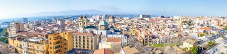 Panoramic view from the old town of Cagliari, capital of Sardinia, Italy