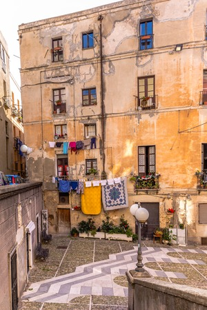 Carlo alberto square with the statue of St. Francis in Cagliari capitla city of Sardinia island, Italy