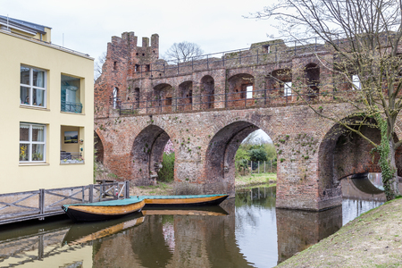 Ancient city wall and entrance to the city center of  Zutphen, a medieval city along the river IJssel in Gelderland in the Netherlands