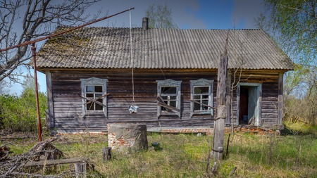 Abandoned little house in Belarus Chernobyl exclusion zone, recently opened for the public from april 2019. Banco de Imagens