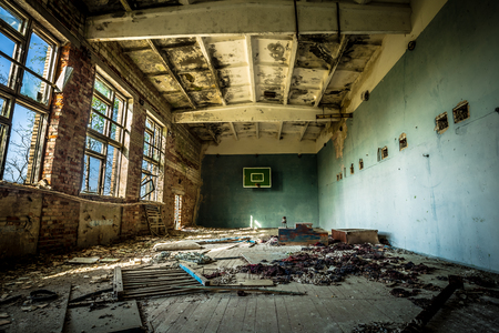 Sports hall in an abandoned school in Belarus Chernobyl exclusion zone, recently opened for the public from april 2019.