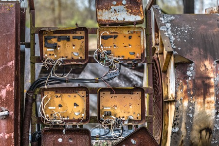 Old rusty fuse box  in an abandoned old building  in Belarus, Chernobyl exclusion zone