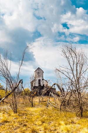 Landscape with an abandoned old factory in Chernobyl disaster area in Belarus