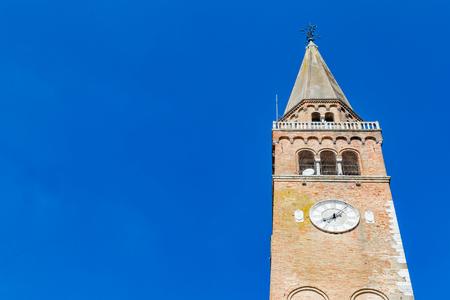 Close up of duomo di SantAndrea in front of a clear blue sky in Portogruaro, in Veneto Italy Stockfoto
