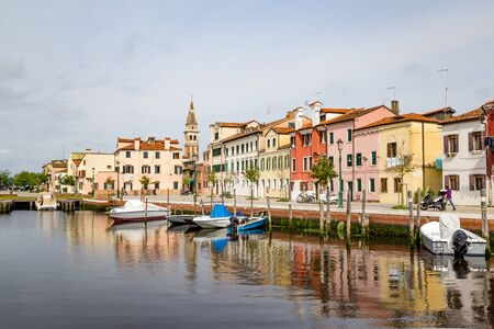 Town center of the picturesque typical Italian village Malamocco on Lido di Venzia in Italy Stockfoto