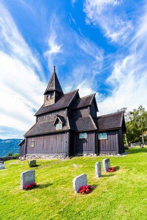 Urnes Stave Church in Ornes along Lustrafjorden in Sogn og Fjordane county in Norway. 版權商用圖片