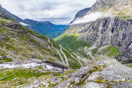 Trollstigen mountain viewpoint and pass along national scenic route Geiranger Trollstigen More og Romsdal county in Norway