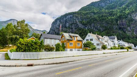 Townscape Sylte or Valldal administrative center of Norddal Municipality, More og Romsdal Norway, with Valldalen valley and shore of Norddalsfjorden