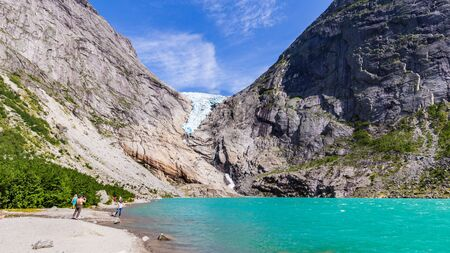 Briksdal glacier in Norway wel known arm of the large Jostedalsbreen glacier in Oldedalen valley in Norway, Scandinavia.