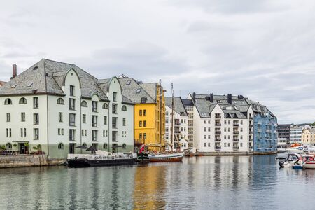 Cityscape of the picturesque center of Alesund in Norway, Scandinavia