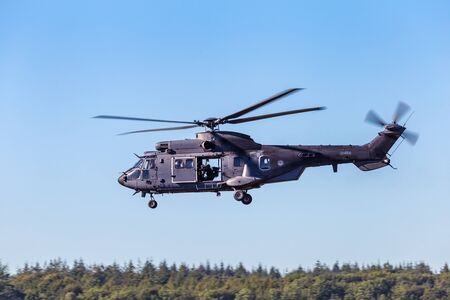 Ede, Netherlands, September 21, 2019: Cougar helicopter command S-454 of the Dutch army during an air show in the Netherlands. Editorial