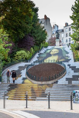 Blois, France - October 10, 2019: Mona Lisa Stairway at escalier Denis Papin to celebrate 500th anniversary of the Renaissance