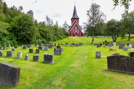 Pictureque wooden Hol church (Hol kirke) in Leknes on the island Vestvagoy in Nordland county, Norway