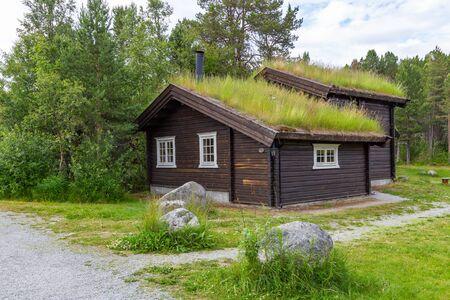 Cabanes écologiques traditionnelles en bois et toit vert avec mousse et plantes en Norvège