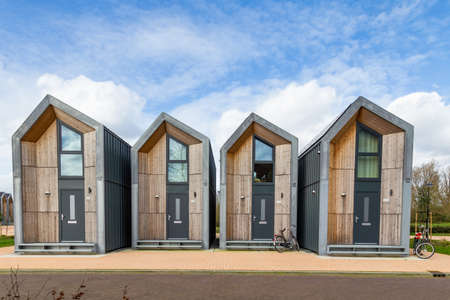 Nijkerk, Netherlands,March 12, 2020: Eco friendly tiny houses in NIjkerk. 39 square meters surface for a sustainable living. Editorial
