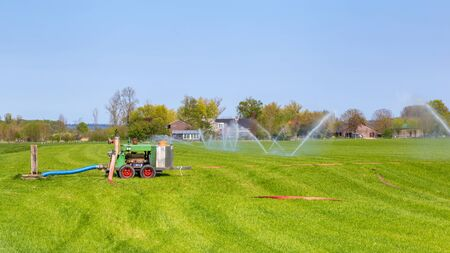 Water sprinkler system for the irrigation of farmland against the drought