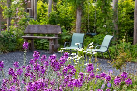 Naturral Garden design with wooden bech and chairs. Foto de archivo