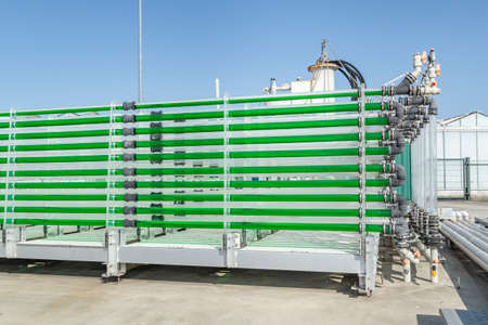 Wageningen, Netherlands - September 22, 2020: Algae unit for Algae production as sustainable alternative biomass to produce fuel, oil and protein