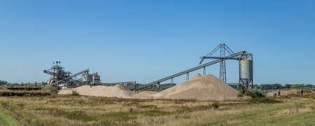 Sand mining factory near river Waal in Millingen aan de Rijn, Gelderland, Netherlands