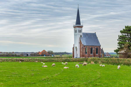 Picturesque churh Den Hoorn in rural areas of the Wadden sialnd Texel in North Holland, The Netherlands